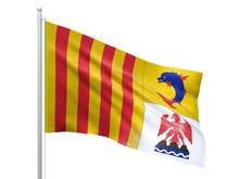 Provence-Alpes-Cote DAzur (Region Of France) Flag Waving On White Background, Close Up, Isolated. 3D Render