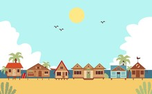 Tropical Beach With Resort Houses Or Bungalows Flat Vector Illustration.