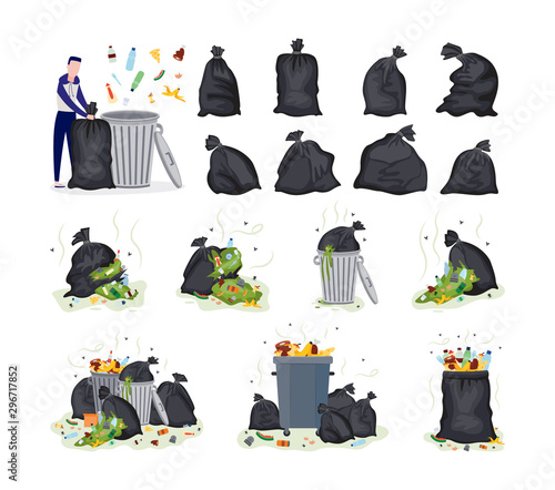 Set of garbage items - plastic bags, rubbish and man flat vector illustration Wallpaper Mural