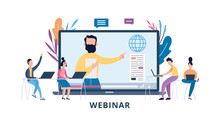 Online Webinar Or Seminar With Cartoon People Flat Vector Illustration Isolated.