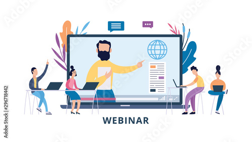 Online webinar or seminar with cartoon people flat vector illustration isolated Fototapete