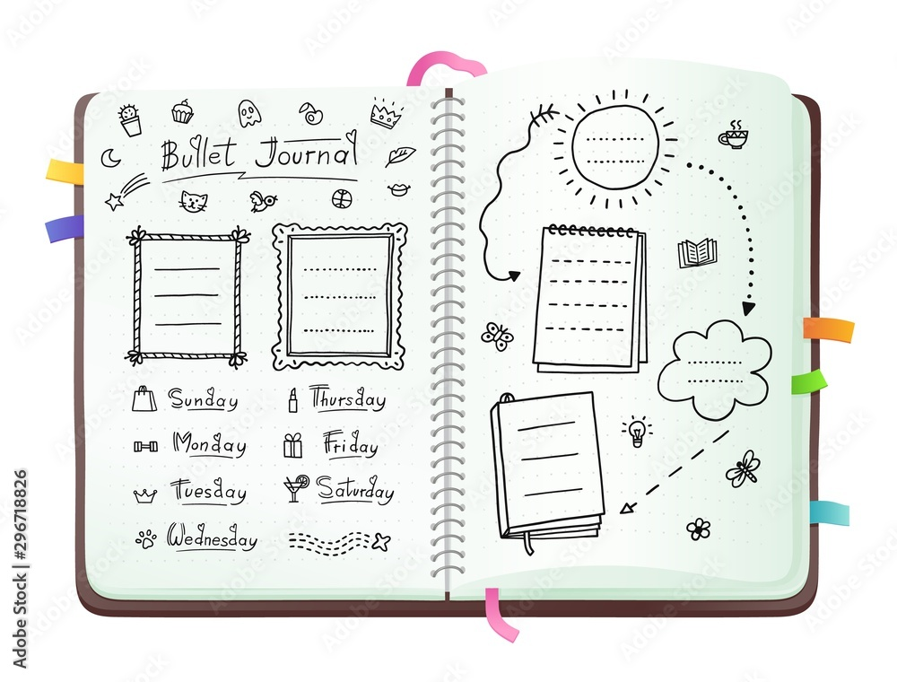 Fototapeta Bullet journal pages with doodle drawings and week layout