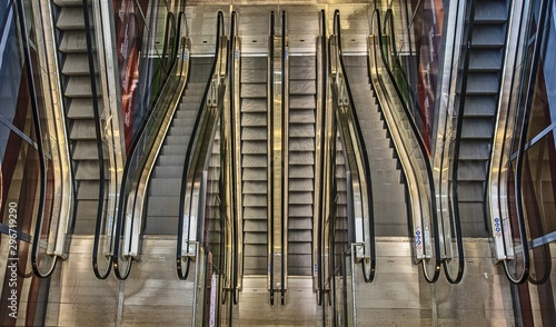 High angle shot of long escalators going up and down in a building Canvas Print