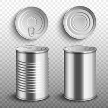 Set Of Food Tin Cans Top And S...