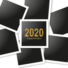 Happy New Year Gold Number 2020 And Frames Photo Collage On White Background. Bright Golden Design With Sparkle. Holiday Glitter Typography For Christmas Banner, Calendar, Decoration, Greeting Card