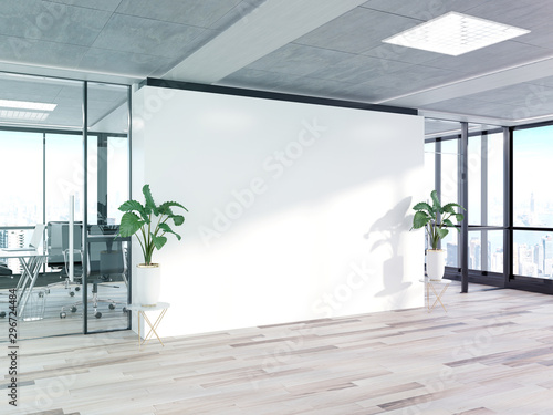Obraz Blank wall in bright concrete office with large windows Mockup 3D rendering - fototapety do salonu