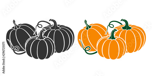 Photo Pumpkins with leaves, silhouette on white background.