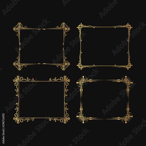 Fototapeta Golden Set Of Hand Drawn Vintage Ornate Frames Filigree Elegant Wedding Gold Borders Vector Isolated Flourish Invitation Card