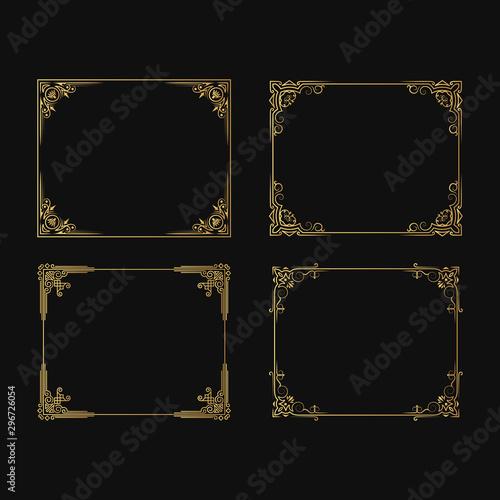 Leinwand Poster  Set of hand drawn golden vignette frames