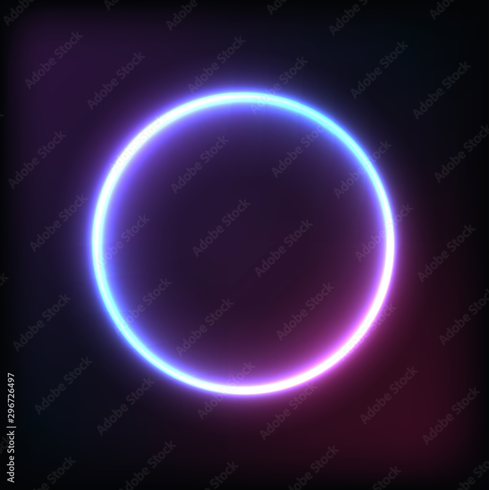 Fototapety, obrazy: Neon circle dark background Element for banner and advertising