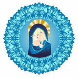 Fototapeta Do akwarium -  religious composition with Mary and Jesus surrounded by a rosette