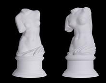 Statue. On A Black Isolated Background. Gypsum  Torso Of Venus.