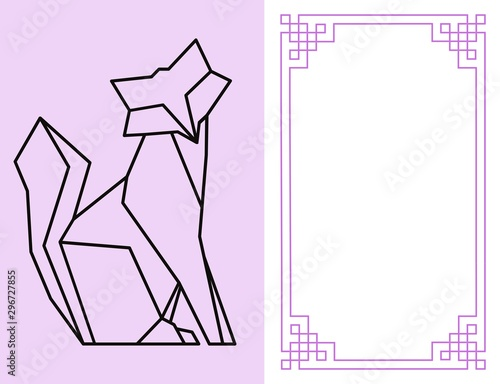 Foto de vector de foto de niños de marco de animales de dibujos animados mascotas o pájaros en borde de fotografía de niños o plantilla de fotogramas de niños para fotografía de bebé en conjunto de i Wall mural