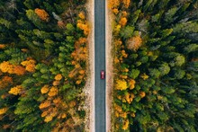 Aerial View Of Rural Road In Y...