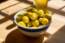 Homemade Pickled Green Olives Stuffed  With Garlic In Bowl, Spanish Tapas