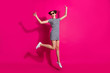 Leinwandbild Motiv Full length body size view of her she nice attractive lovely charming cheerful cheery girl jumping walking having fun isolated over bright vivid shine vibrant pink fuchsia color background