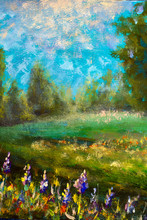 Vertical Oil Painting - Natura...