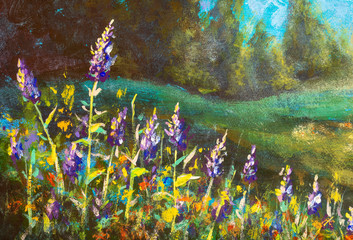 Panel Szklany Łąka Beautiful purple flowers lit by the sun against a forest - original oil painting on canvas.