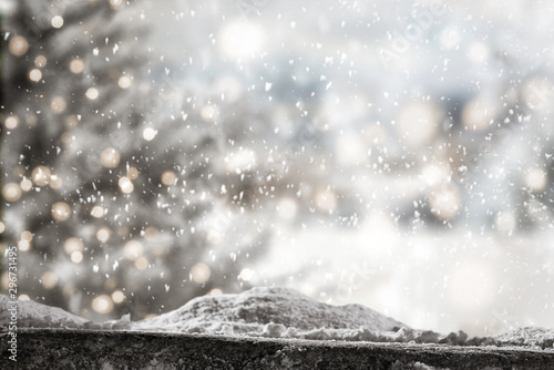 Foto auf AluDibond Baume background of snow and christmas time. Free space for your decoration.