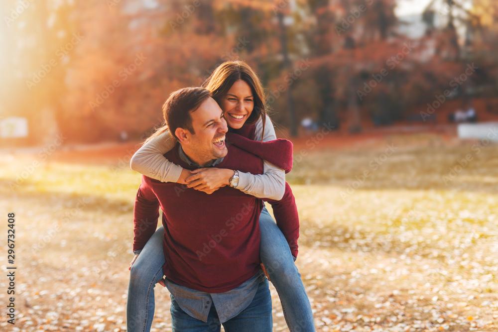 Fototapety, obrazy: Couple enjoying in autumn