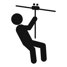 Zip Line Icon. Simple Illustration Of Zip Line Vector Icon For Web Design Isolated On White Background