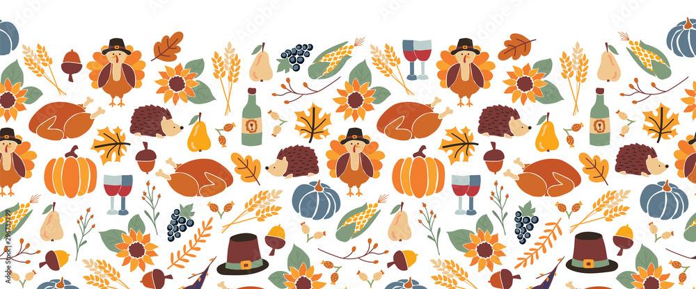 Fototapety, obrazy: Thanksgiving seamless vector border. Autumn food roast turkey corn wine pumpkin family dinner greeting card repeating pattern design. Harvest festival. Fall party invitation banner. Happy Thanksgiving