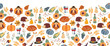 Thanksgiving seamless vector border. Autumn food roast turkey corn wine pumpkin family dinner greeting card repeating pattern design. Harvest festival. Fall party invitation banner. Happy Thanksgiving