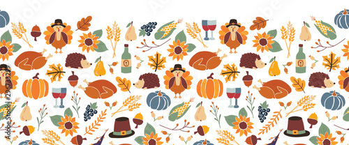Thanksgiving seamless vector border. Autumn food roast turkey corn wine pumpkin family dinner greeting card repeating pattern design. Harvest festival. Fall party invitation banner. Happy Thanksgiving - 296733299