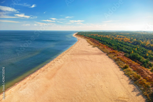 fototapeta na ścianę Aerial landscape of the beautiful beach of Baltic Sea in Gdansk, Poland