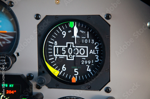 Altimeter in an airplane cockpit, 15000ft on standard setting Canvas Print