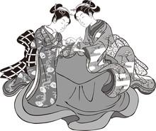 浮世絵 女性 その51 白黒