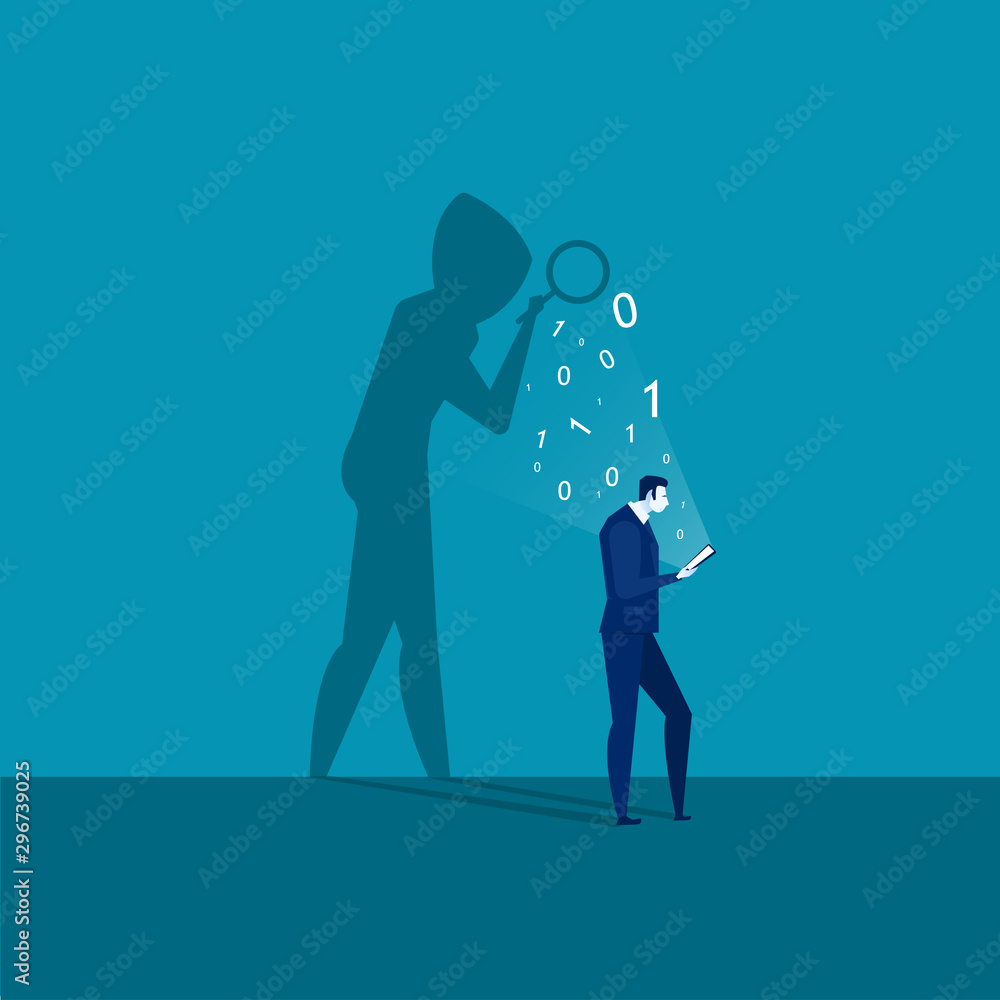 Fototapeta  businessman looking on laptop smartphone with shadow mask stealing passwords and login phone security concept