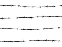 Barbed Wire Of Fence On White ...