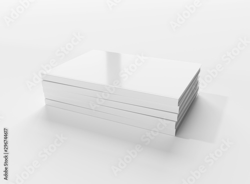 Valokuvatapetti Blank book hardcover pile mockup isolated on white background 3D rendering