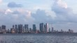 Zooming In Timelapse of Mumbai's Ever-Growing Beautiful Skyline on a beautiful day with clouds taken from Bandra Reclamation. MUM00019.