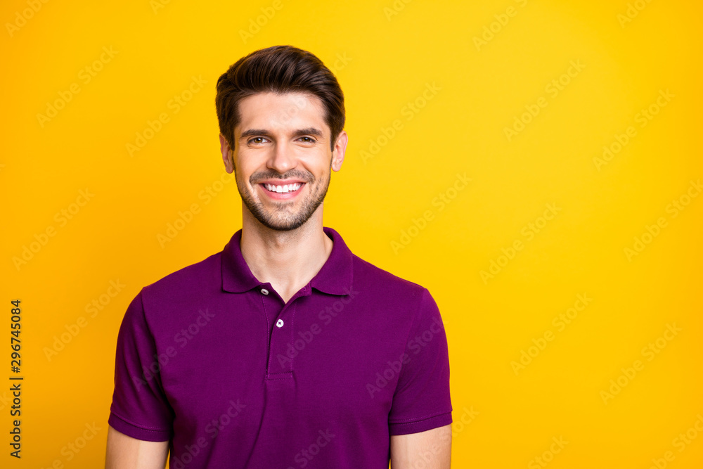 Fototapety, obrazy: Close-up portrait of his he nice attractive cheery cheerful guy wearing lilac shirt isolated over bright vivid shine vibrant yellow color background