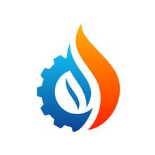 Fire With Gear Logo Vector. Fl...