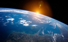 View Of Planet Earth Close Up With Atmosphere During A Sunrise 3D Rendering Elements Of This Image Furnished By NASA