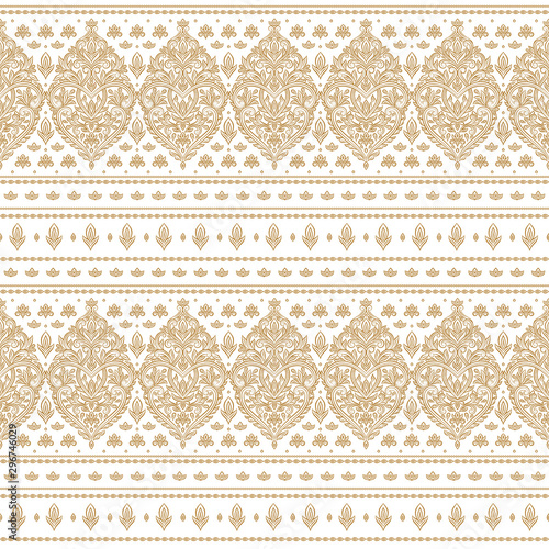 Foto auf Gartenposter Boho-Stil Gold and white Turkish floral seamless pattern. Vintage vector background template, luxury flourish elements. Great for fabric, invitation, wallpaper, decoration, packaging or any desired idea.