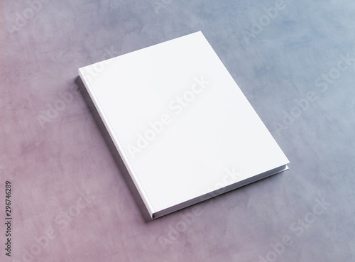Stampa su Tela  Blank hardcover book mockup on concrete 3D rendering
