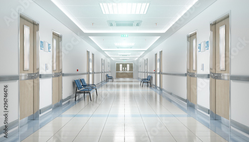 Fotografiet Long hospital bright corridor with rooms and seats 3D rendering
