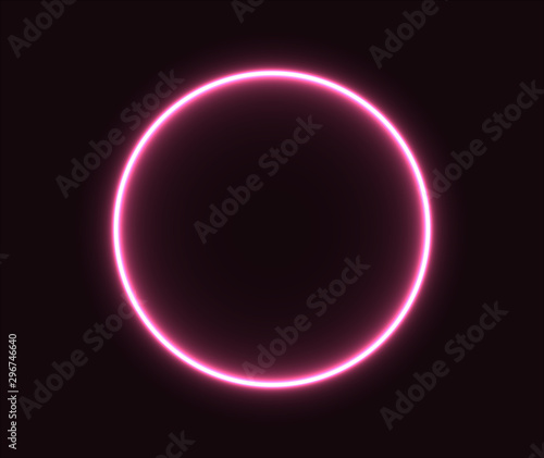 Photo Neon circle pink glowing geometric shape. EPS 10