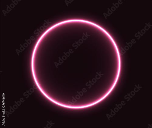 Fototapeta  Neon circle pink glowing geometric shape. EPS 10 obraz