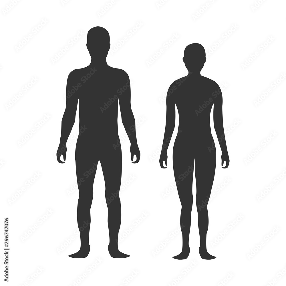 Fototapety, obrazy: Male and female body silhouette template. Body silhouettes icon for medicine.