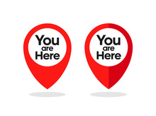 You Are Here Sign. Location Point Icon