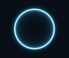 Glowing Neon Circle In Blue.