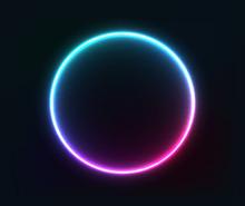 Neon Circle Glowing Pink, Blue Geometric Shape. EPS 10