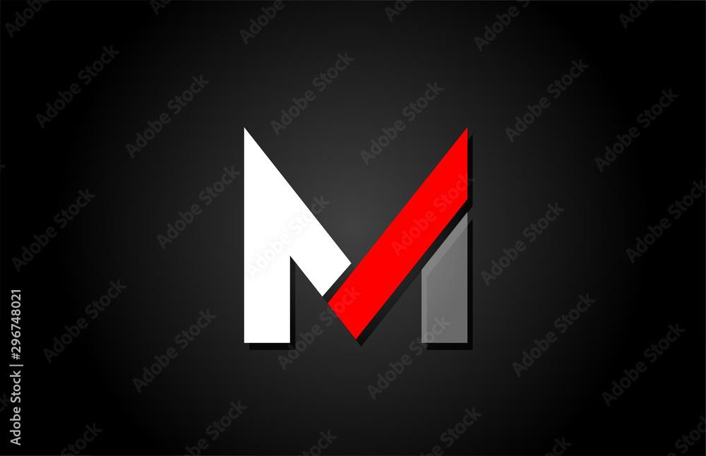 Fototapeta red white black M alphabet letter logo for company icon design