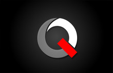 Red White Black Q Alphabet Let...