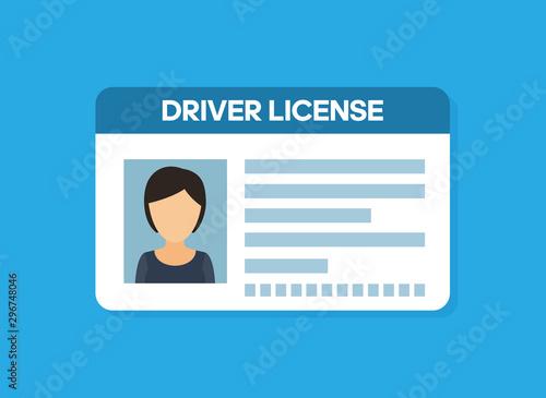 Pinturas sobre lienzo  Car driver license woman flat icon